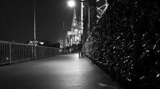 Liebesschlösser, Hohenzollernbrücke und der Dom.